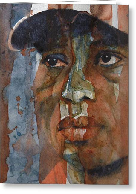 Tiger Woods Greeting Cards - Star n Stripes  Greeting Card by Paul Lovering