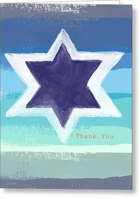 Star Of David In Blue - Thank You Card Greeting Card by Linda Woods
