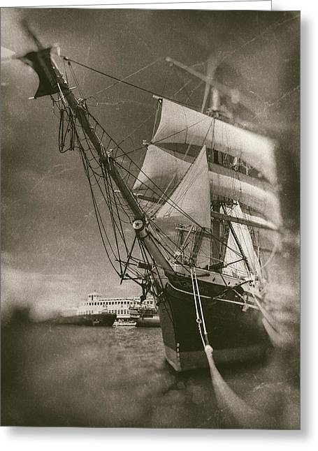 Wooden Ship Greeting Cards - Star of India Aged Plates Greeting Card by Scott Campbell