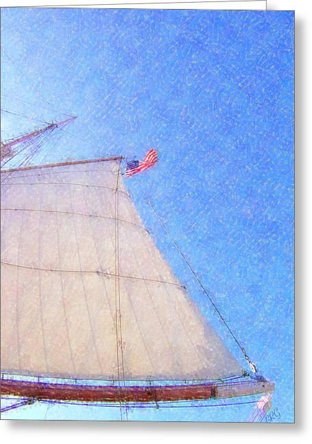 Old Ship Art Greeting Cards - Star of India. Flag And Sail Greeting Card by Ben and Raisa Gertsberg