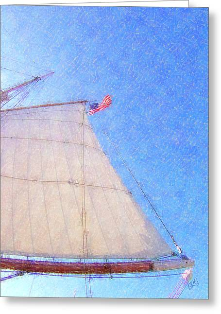 Old Ship Art Greeting Cards - Star of India. Flag And Sail Greeting Card by Ben and Raisa Gertsberg