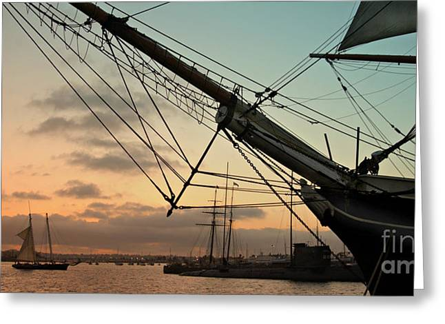 Wooden Ship Greeting Cards - Star of India Sailing Vessel - San Diego Harbor Greeting Card by Anna Lisa Yoder