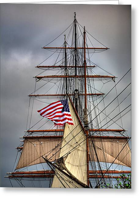 Tall Ships Greeting Cards - Star of India Stars and Stripes Greeting Card by Peter Tellone