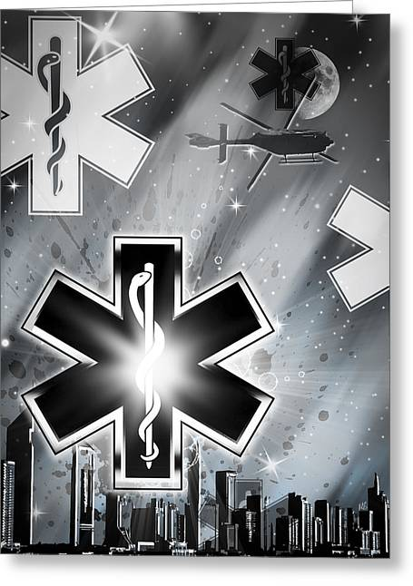 Art Of Building Mixed Media Greeting Cards - Star of Life Night Greeting Card by Melissa Smith