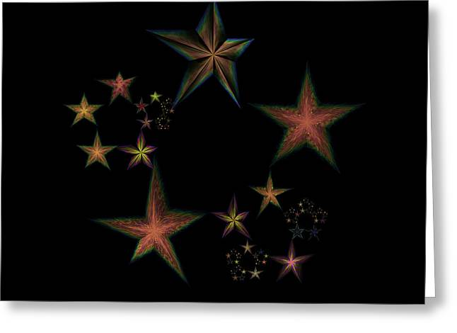 Generative Abstract Greeting Cards - Star of Stars 12 Greeting Card by Sora Neva