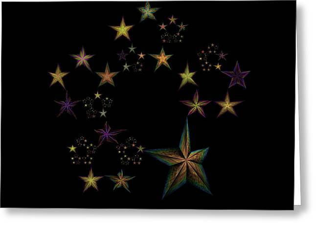 Generative Abstract Greeting Cards - Star of Stars 17 Greeting Card by Sora Neva