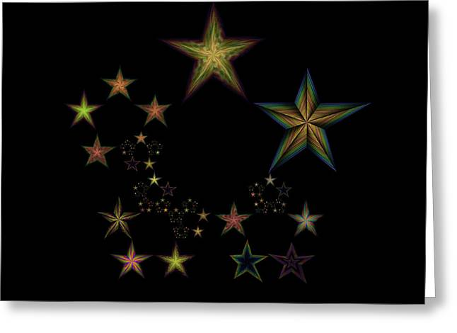 Generative Abstract Greeting Cards - Star of Stars 18 Greeting Card by Sora Neva