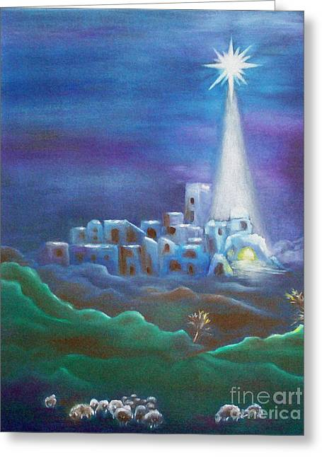 Recently Sold -  - Star Of Bethlehem Greeting Cards - Star over Bethlehem-Holy Night Greeting Card by Melanie Palmer