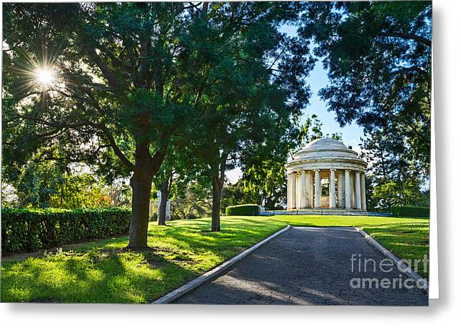 Burst Greeting Cards - Star over the Mausoleum - Henry and Arabella Huntington overlooks the gardens. Greeting Card by Jamie Pham