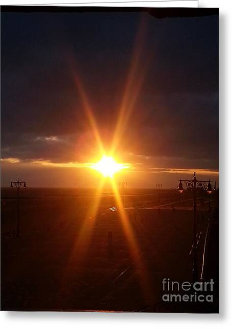 Take Over Greeting Cards - Star Shaped Sunset Over Coney Island Greeting Card by John Telfer