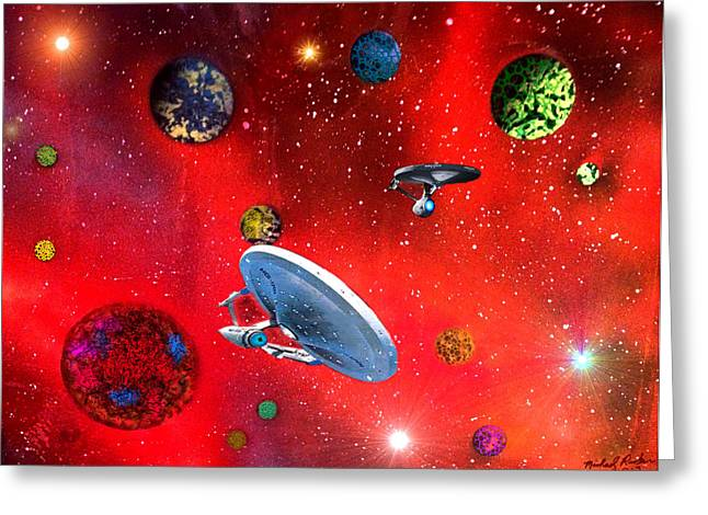 Best Sellers -  - Enterprise Mixed Media Greeting Cards - Star Ships Greeting Card by Michael Rucker