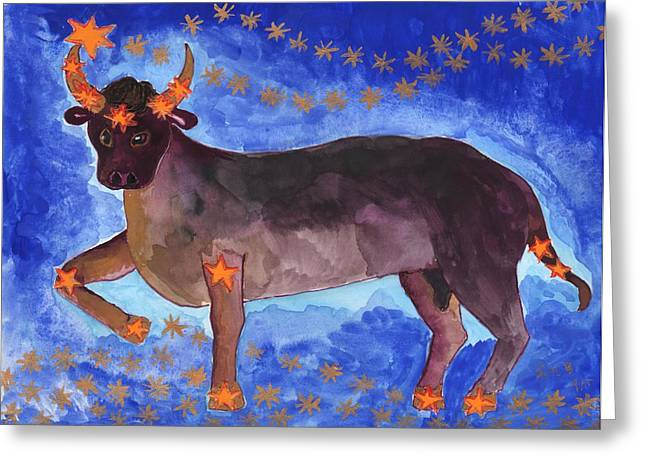 Constellations Greeting Cards - Star Sign Taurus Greeting Card by Sushila Burgess