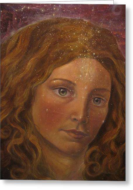 Spiritual Portrait Of Woman Greeting Cards - Star sister Greeting Card by Vera Atlantia