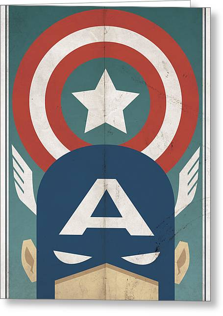 Vintage Greeting Cards - Star-Spangled Avenger Greeting Card by Michael Myers