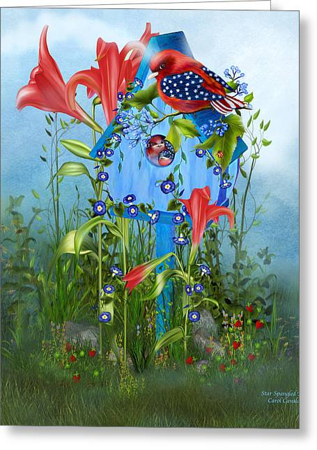 Spring Scenes Mixed Media Greeting Cards - Star Spangled Birdie Greeting Card by Carol Cavalaris