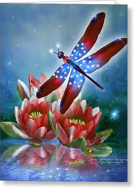 Star Spangled Dragonfly Greeting Card by Carol Cavalaris