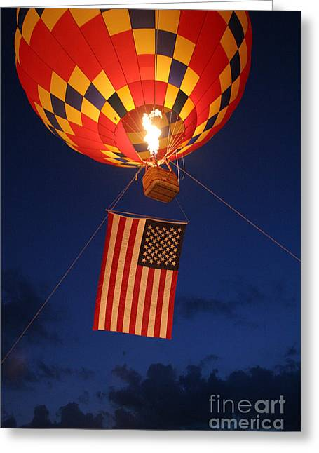 Flying Flag Greeting Cards - Star Spangled Glow Greeting Card by Paul Anderson