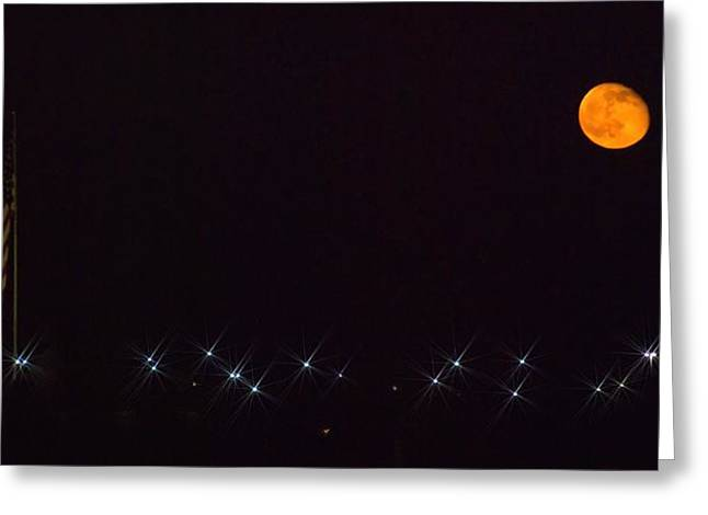 Kansas Pyrography Greeting Cards - Star-Spangled Moon Greeting Card by George Fields