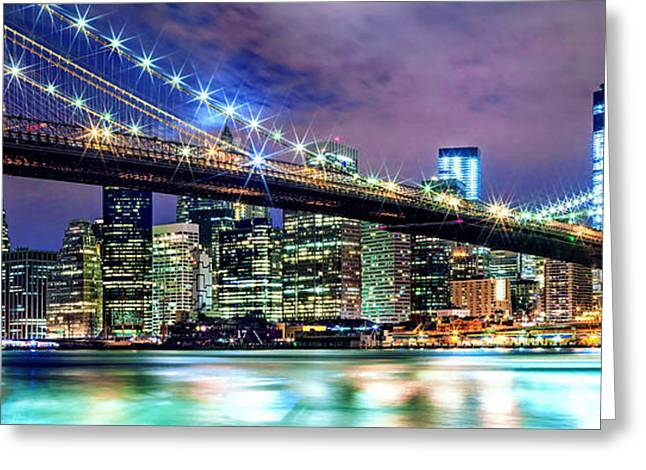 New York Night Greeting Cards - Star Spangled Skyline Greeting Card by Az Jackson