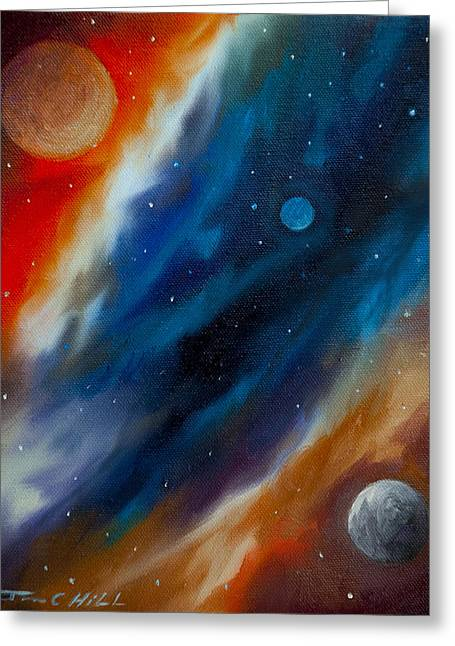 Stellar Paintings Greeting Cards - Star System 2034 Greeting Card by James Christopher Hill