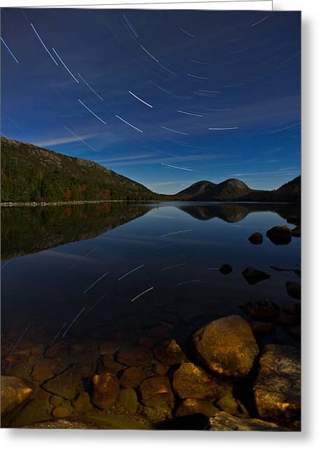 Jordan Trail Greeting Cards - Star Trail over Jordan Pond Greeting Card by Michael Blanchette