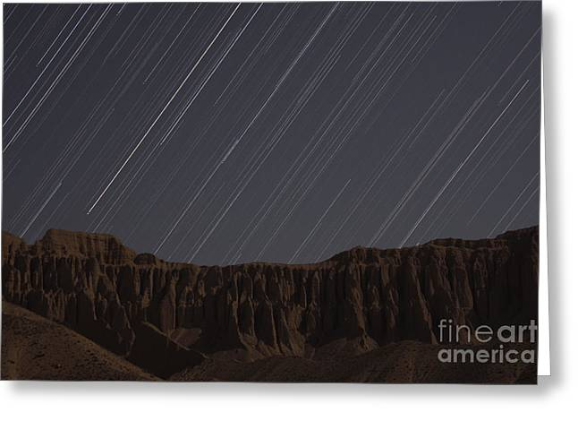 Tehran Greeting Cards - Star Trails Above Martians Valley Greeting Card by Amin Jamshidi