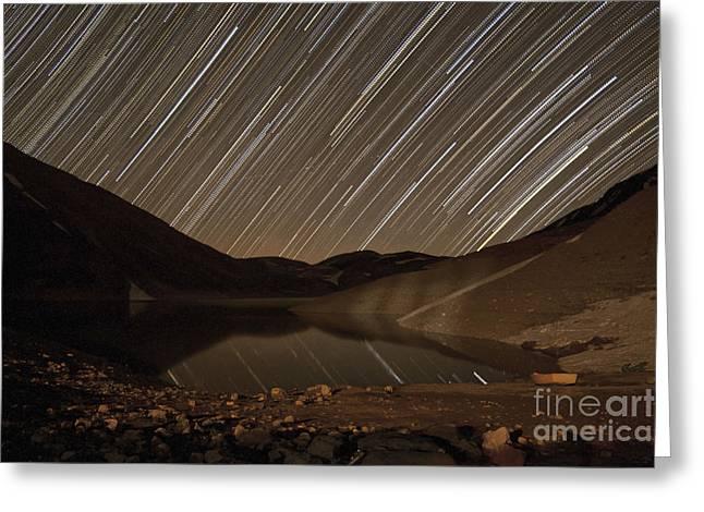 Tehran Greeting Cards - Star Trails Above Taar Lake Greeting Card by Amin Jamshidi