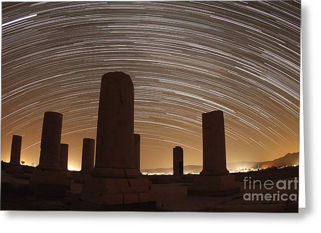 Celestial Pillars.celestial Greeting Cards - Star Trails Above The Private Palace Greeting Card by Amin Jamshidi