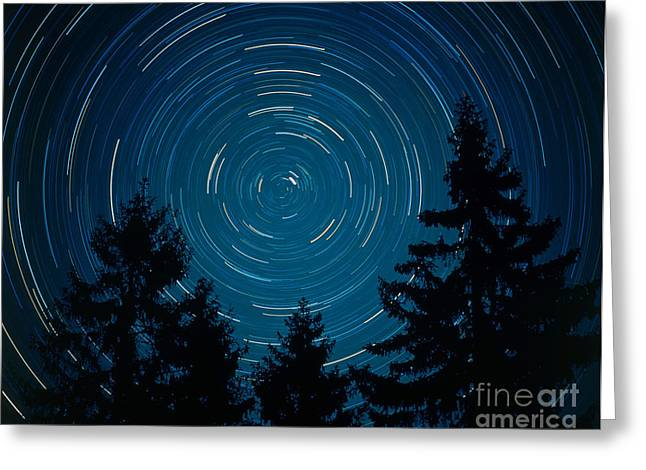 Northern Pole Star Greeting Cards - Star Trails Around Polaris Greeting Card by Hermann Eisenbeiss