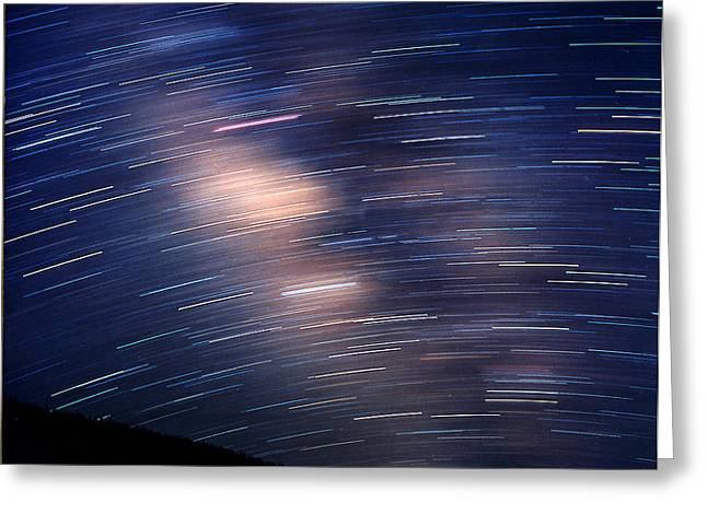 Rotation Greeting Cards - Star Trails At Center Of The Milky Way Greeting Card by John Chumack