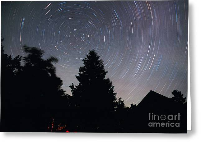 Startrails Greeting Cards - Star Trails Greeting Card by Chris Cook