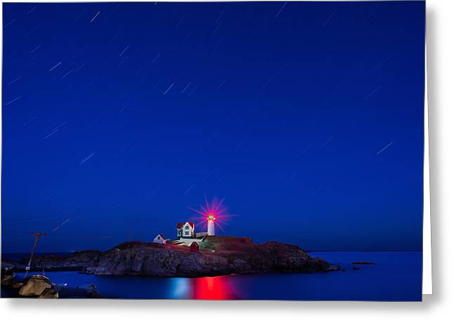 Cape Neddick Lighthouse Greeting Cards - Star Trails Greeting Card by Denis Therien