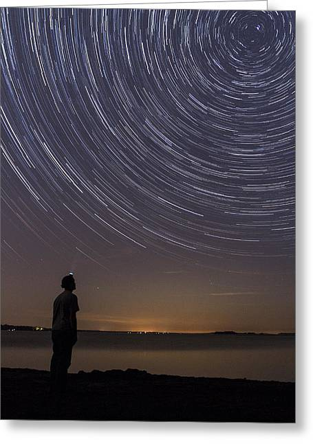 Night Scenes Greeting Cards - Star Trails night sky landscape Vermont Lake Champlain Greeting Card by Andy Gimino