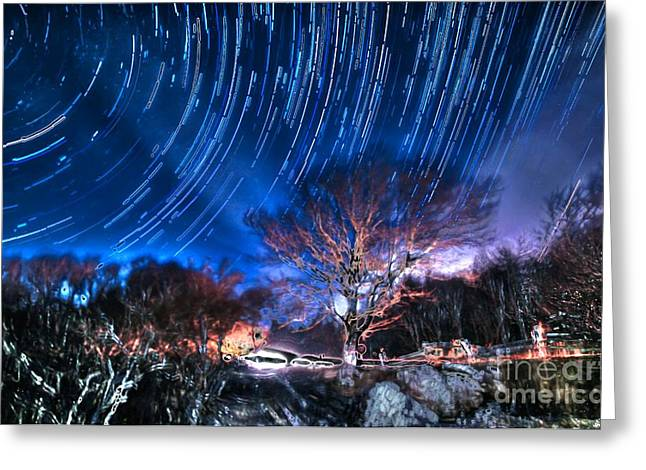 Looking At The Stars Greeting Cards - Star Trails on Acid Greeting Card by Robert Loe