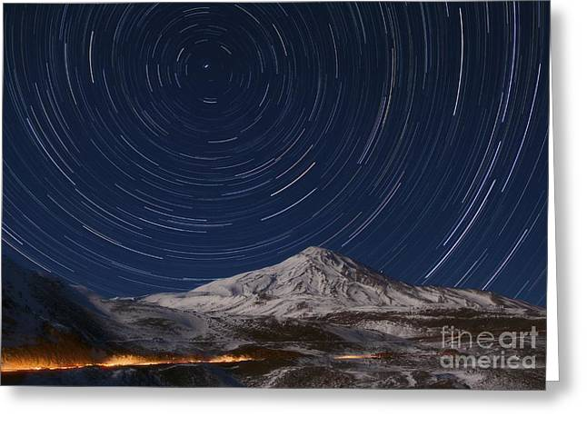 Northern Pole Star Greeting Cards - Star Trails Over Alborz Mountains, Iran Greeting Card by Babak Tafreshi, Twan