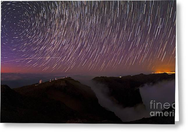 Northern Pole Star Greeting Cards - Star Trails Over La Palma Observatory Greeting Card by Babak Tafreshi, Twan