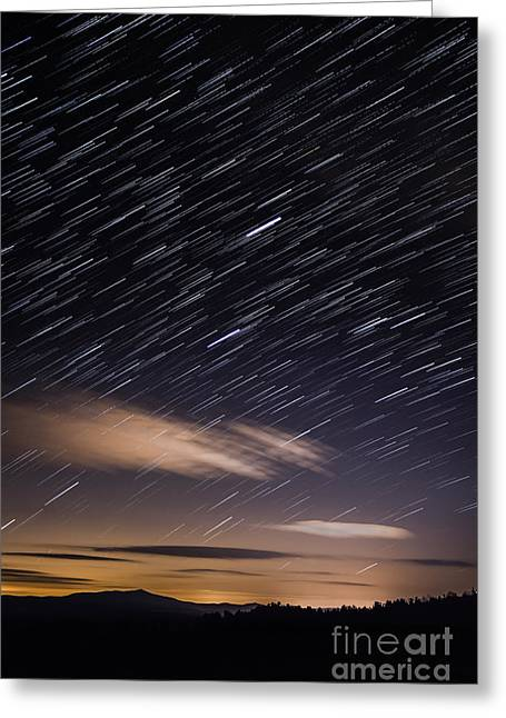 Star Trails Over Mount Monadnock Greeting Card by Alan Palmer