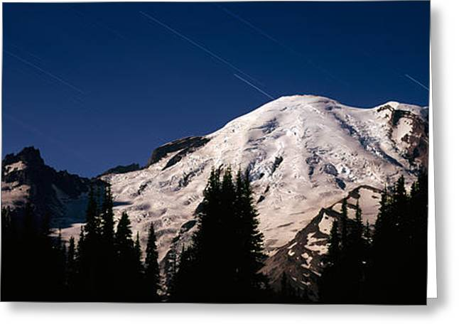 Mountain Greeting Cards - Star Trails Over Mountains, Mt Rainier Greeting Card by Panoramic Images