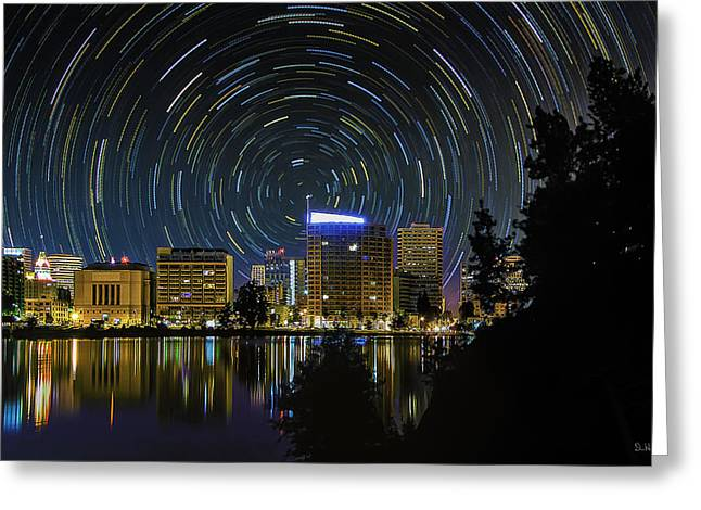 Ebbetts Pass Greeting Cards - Star Trails Over Oakland Greeting Card by PhotoWorks By Don Hoekwater
