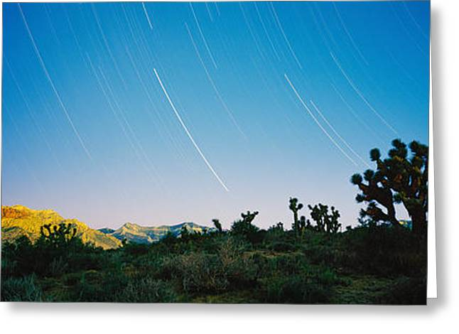 Red Rock Canyon Greeting Cards - Star Trails Over Red Rock Canyon Greeting Card by Panoramic Images