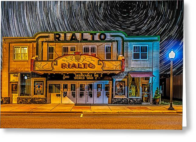 Long Street Greeting Cards - Star trails over the Rialto Greeting Card by Paul Freidlund