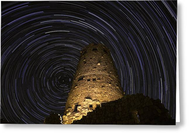 Startrails Greeting Cards - Star Trails over the Watchtower Greeting Card by Jason Hatfield