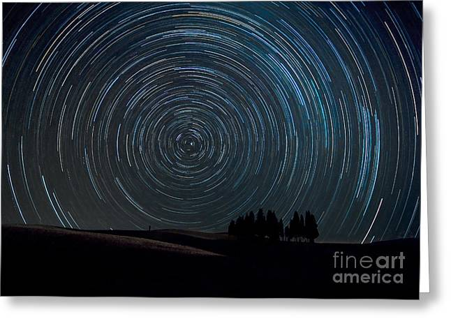 Colombos Greeting Cards - Star trails over Tuscany Italy Greeting Card by Matteo Colombo