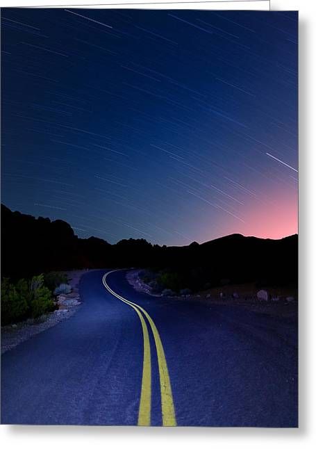 Star Valley Greeting Cards - Star Trails over Valley of Fire Greeting Card by Rick Berk