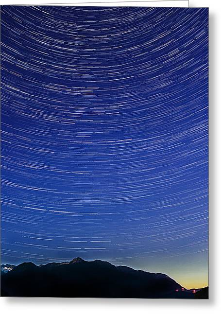 Wesley Allen Shaw Photography Greeting Cards - Star Trails Greeting Card by Wesley Allen Shaw