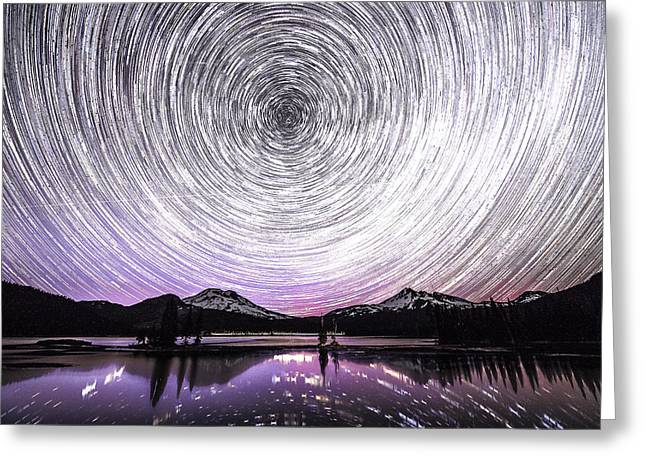Snowy Night Night Greeting Cards - Star trails with Northern light Greeting Card by Hisao Mogi