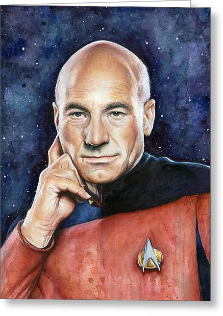 Stewart Greeting Cards - Star Trek Captain Picard Portrait Greeting Card by Olga Shvartsur