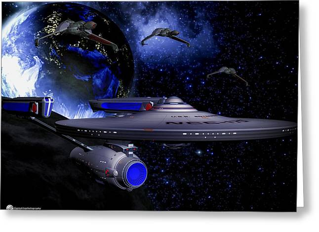 Enterprise Digital Art Greeting Cards - Star Trek Enterprise-a Greeting Card by Todd and candice Dailey