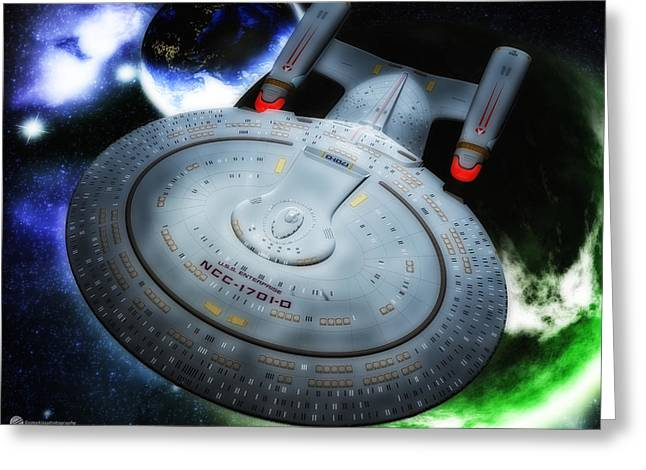 Enterprise D Greeting Cards - Star Trek Enterprise-D Greeting Card by Todd and candice Dailey