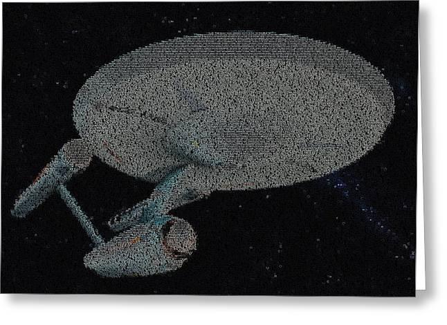 Enterprise Digital Art Greeting Cards - Star Trek Enterprise Episode Mosaic Greeting Card by Paul Van Scott